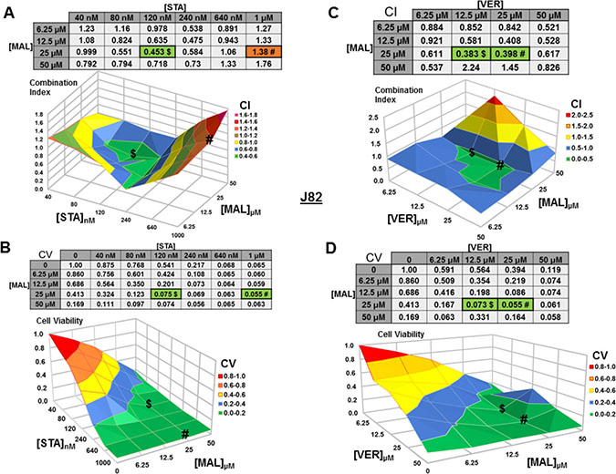 Combinations of HSP70 and HSP90 inhibitors synergistically reduce J82 cell viability.