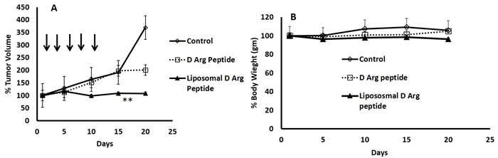 PEGylated Liposomal Encapsulation of the D- Arg Peptide inhibited growth of DU145 xenografts in mice.