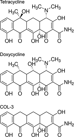 Chemical structures of tetracycline, and its analogs doxycycline and COL-3.