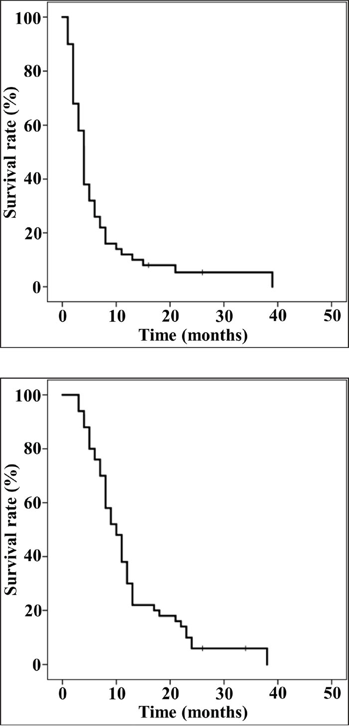 The progression-free survival (PFS) and overall survival (OS) of 50 patients.