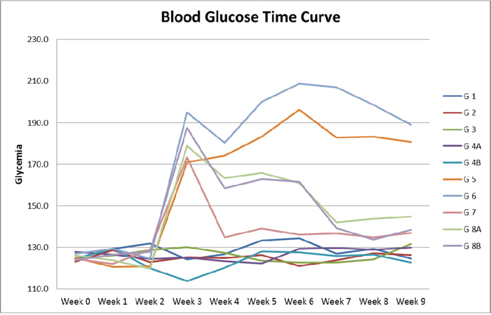 Blood glucose time curve.