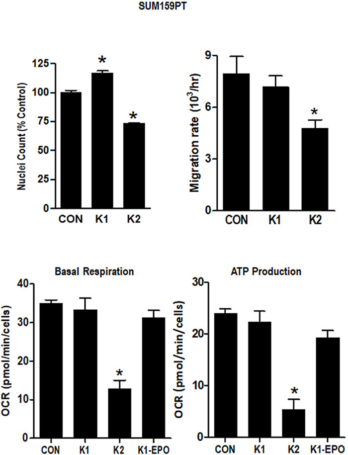 Effect of vitamins K1 and K2 on nuclei counts, migration rates and metabolism in SUM159PT cells.
