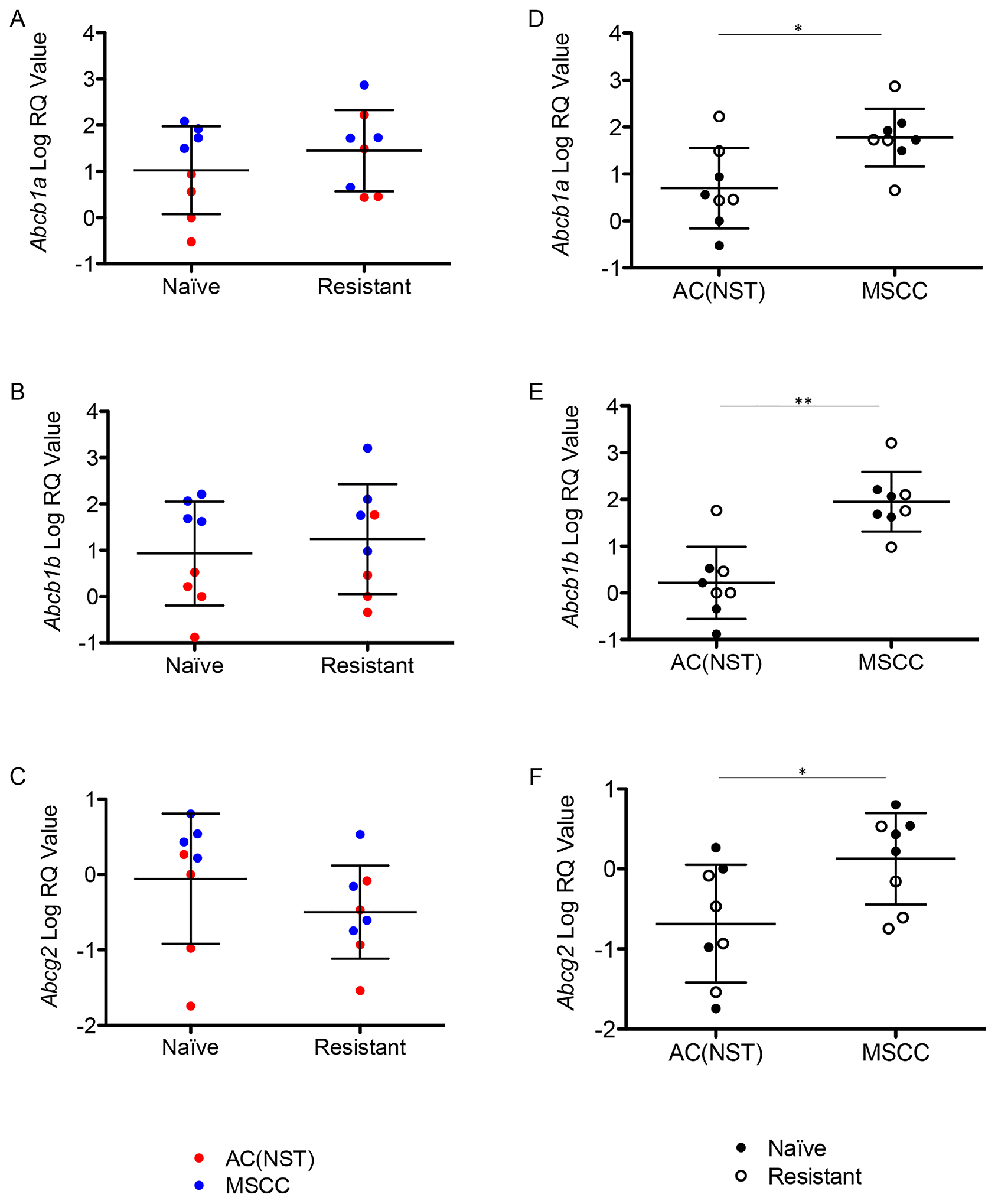 Up-regulation of P-gps is correlated with tumour phenotype.