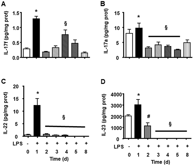 Splenic Th17 cytokines during LPS tolerance development.