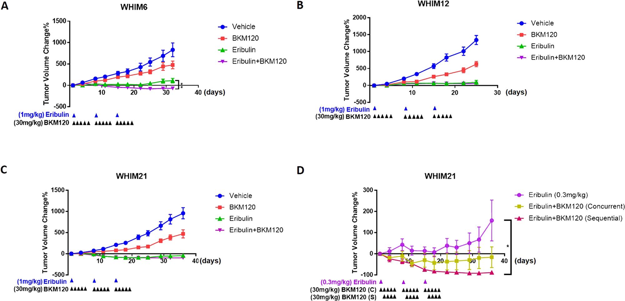 Eribulin in combination with BKM120 inhibits tumor growth in TNBC PDXs.