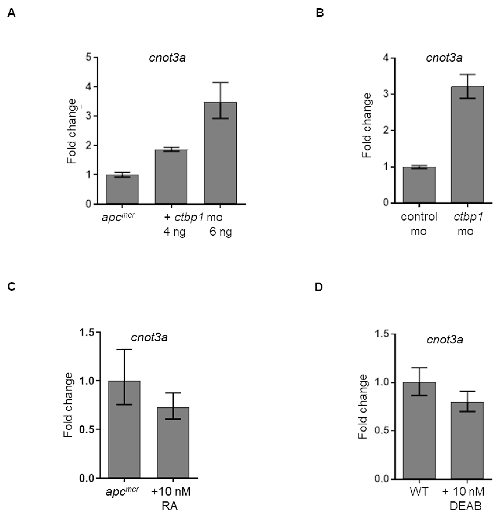 Regulation of cnot3a expression by ctbp1.