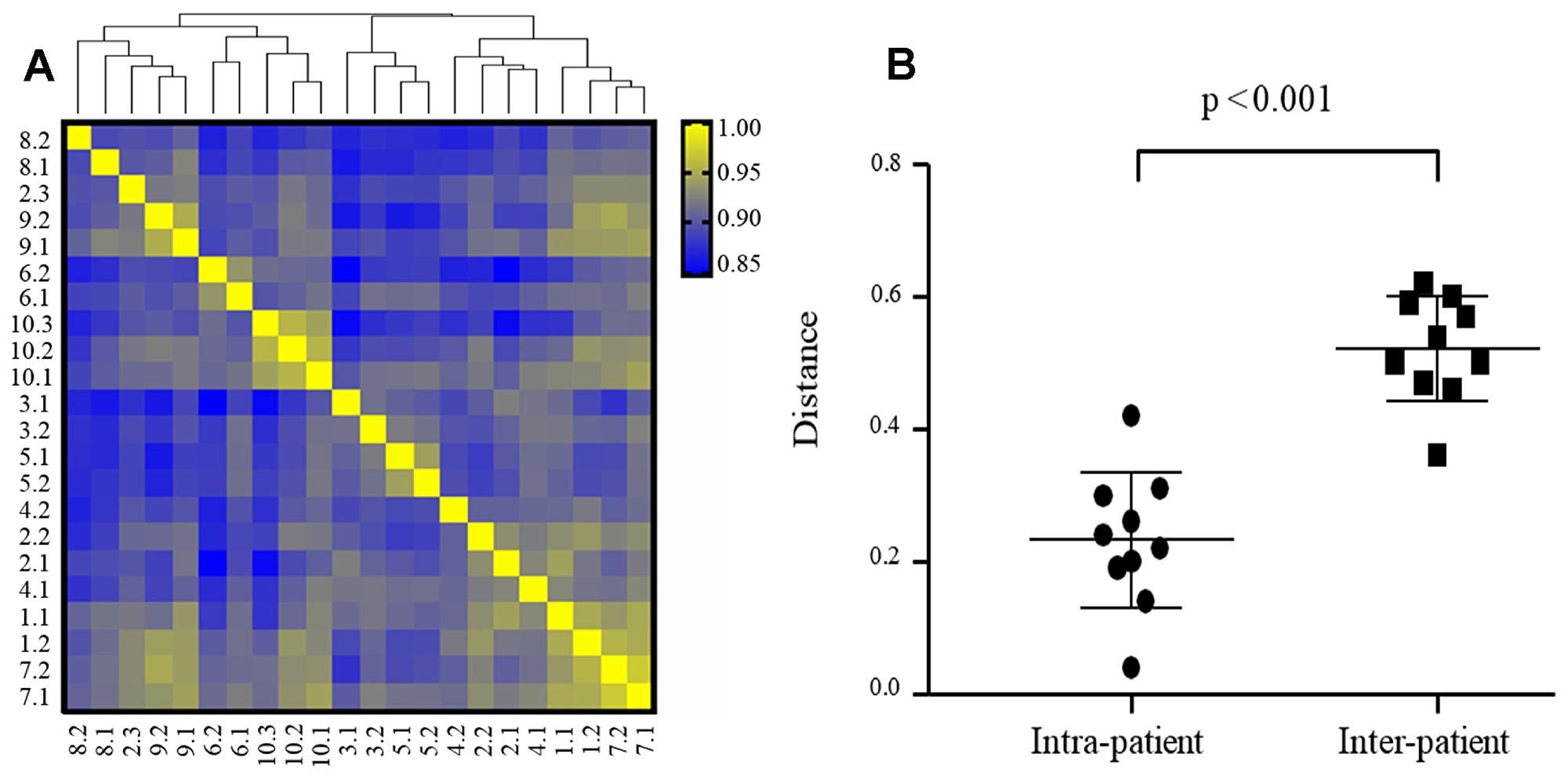 Intra- and inter-patient heterogeneity of mRNA expression in TNBC (N = 22 specimens).