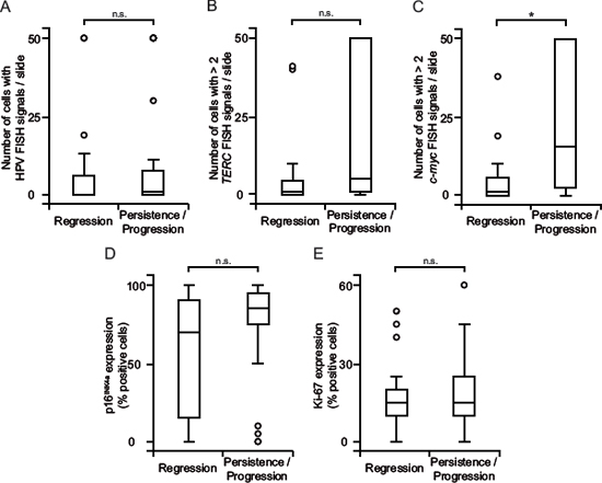 c-myc copy number gain correlates with persistent and progressing dysplasia.