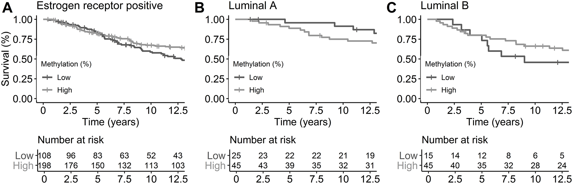 Breast cancer-specific survival by ER status and subtypes by miR-190b methylation status.