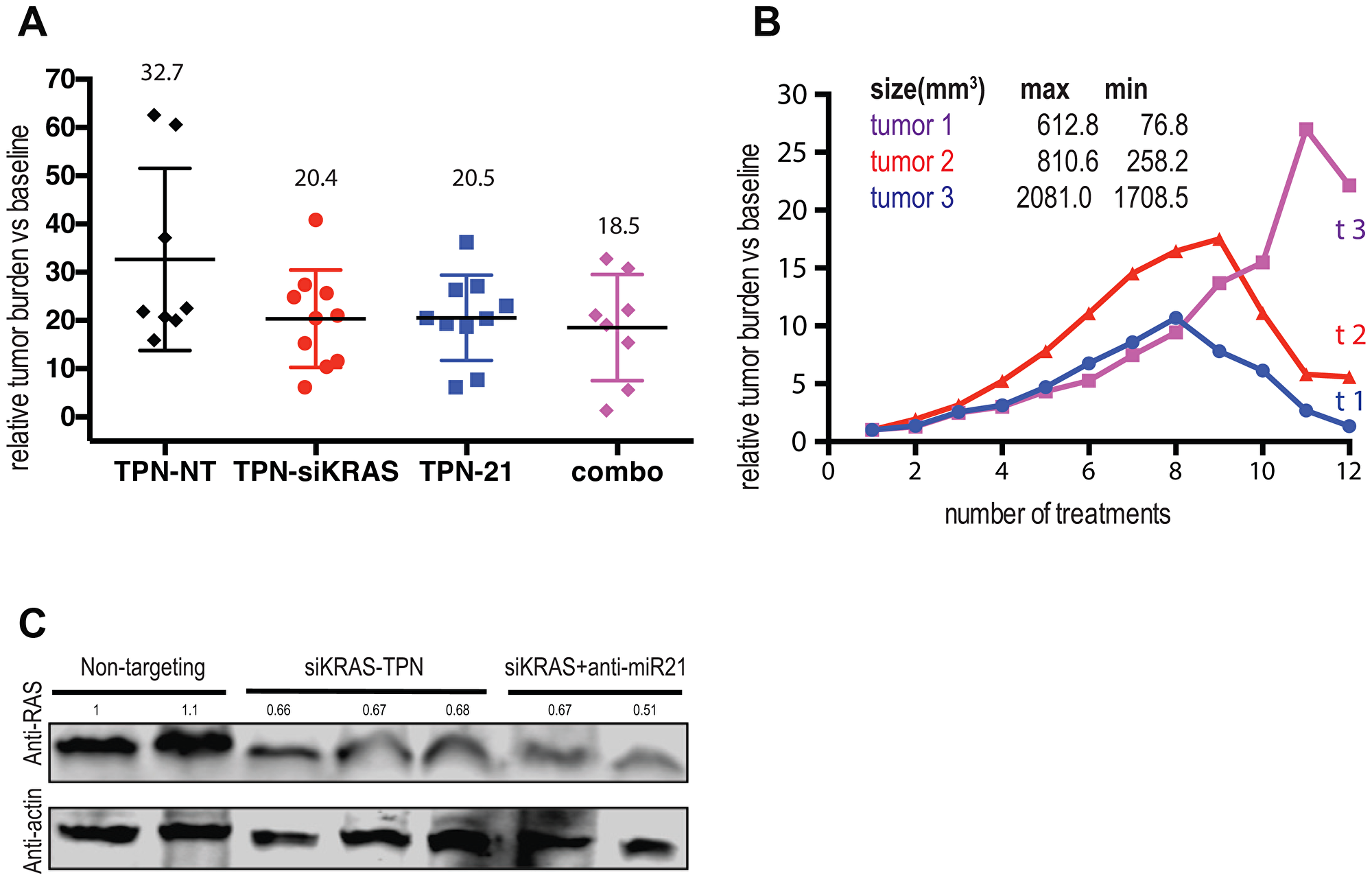 Combining TPN-21 and TPN-KRAS shows limited benefit to the tumor growth volume but promotes tumor regression in mPDAC.