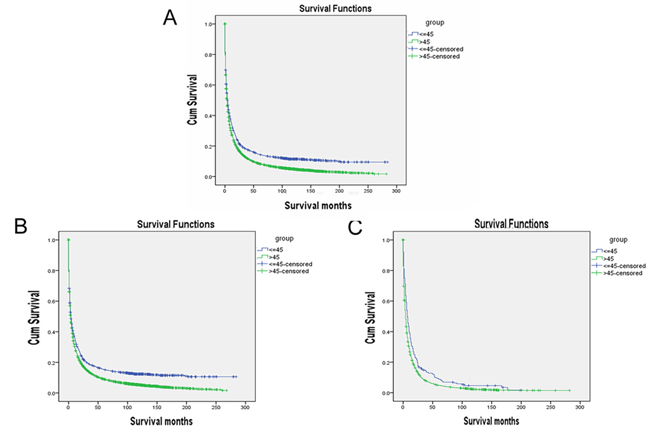 Survival curves in patients according to age status.