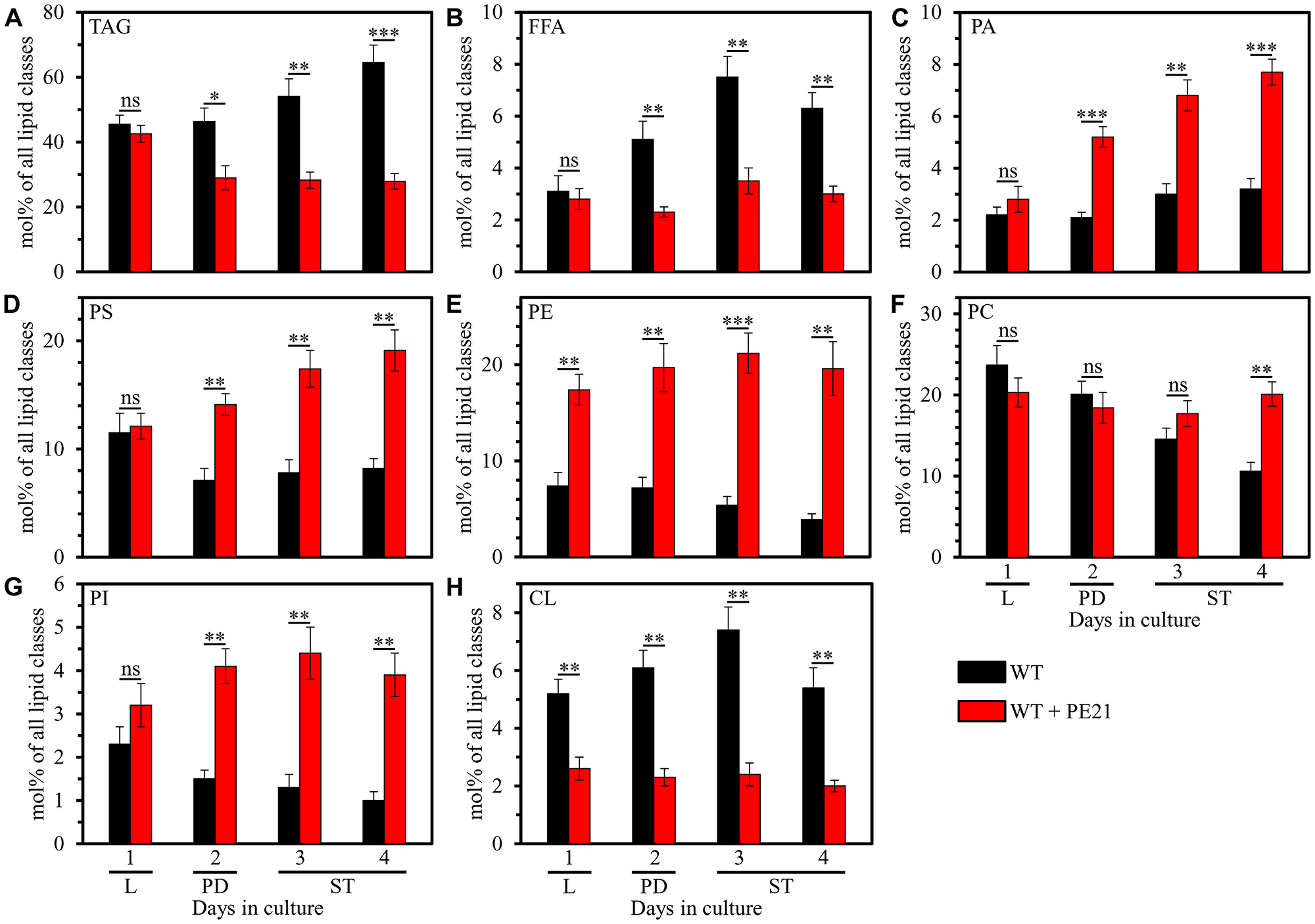 PE21 exhibits age-dependent differential effects on the relative levels of different lipid classes.