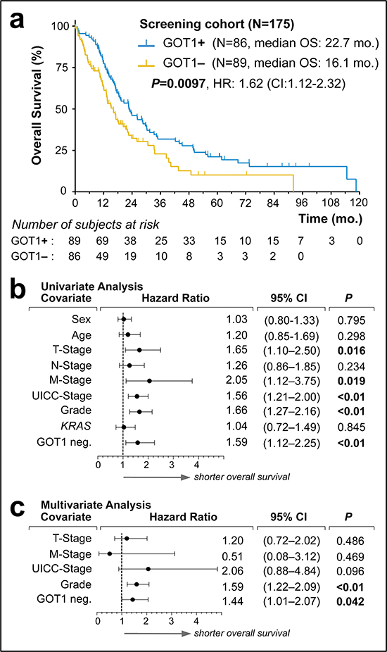 Screening of GOT1 expression status as an independent prognostic biomarker in pancreatic ductal adenocarcinoma.