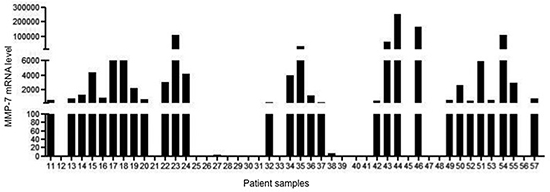Expression of MMP-7 RNA transcripts in 47 peritoneal washing samples taken from 47 patients who had undergone surgery for colorectal cancer.