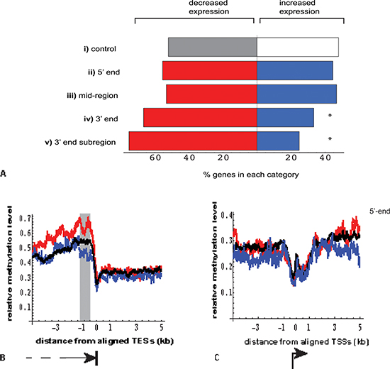 Relationship between location of DNA methylation enrichment in MeCap-seq data and the direction of gene expression change.