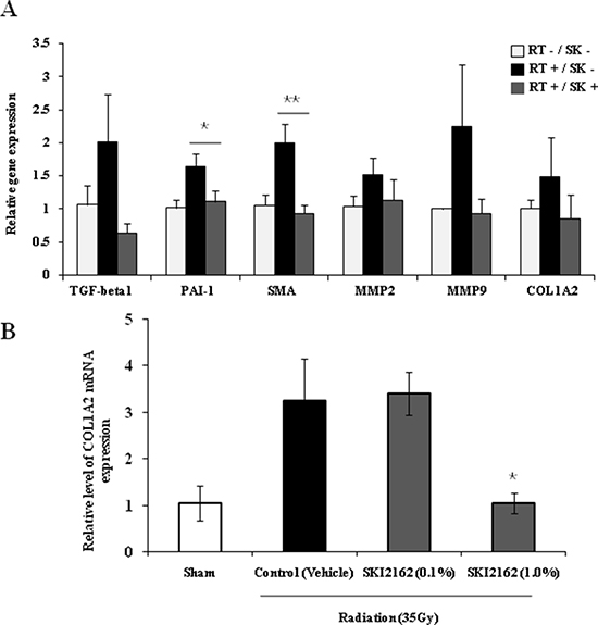 SKI2162 (SK) suppressed fibrosis-induced target genes in the radiation-induced fibrosis (RIF) mouse model.