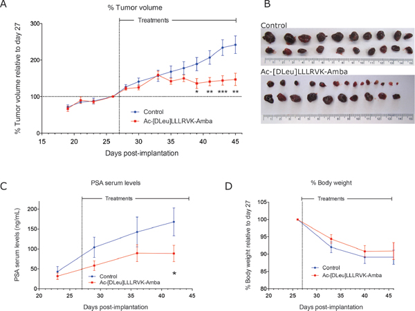 Systemic administration of the peptide Ac-[DLeu]LLLRVK-Amba in vivo.