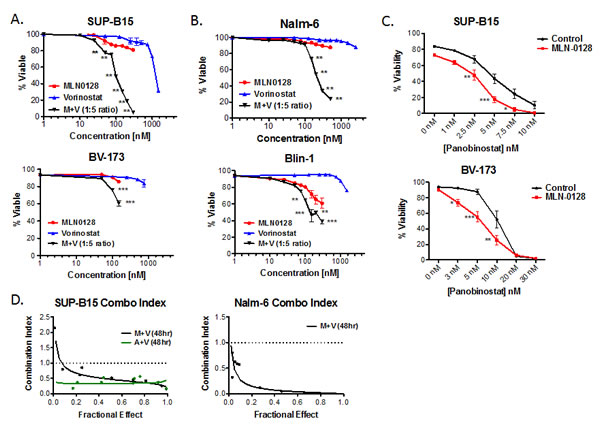 TOR-KIs and HDACi cause synergistic killing of B-ALL cell lines.