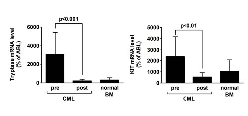 Tryptase mRNA and KIT mRNA levels before and after treatment with imatinib.