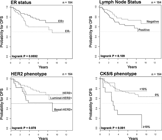 Kaplan-Meier DFS curves of HER2+ patients stratified by ER status, lymph node status, HER2 phenotype, and CK5/6 phenotype.