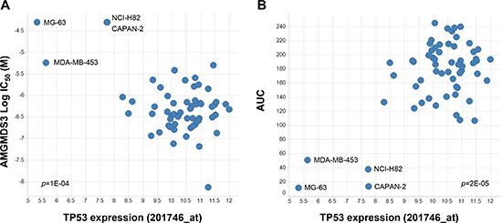 Preliminary linear regression association analysis indicates that low p53 expression correlates with insensitivity to MDM2 inhibition.