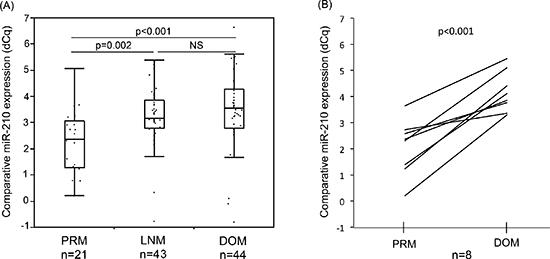 Comparison of miR-210 expression in melanoma FFPE samples.