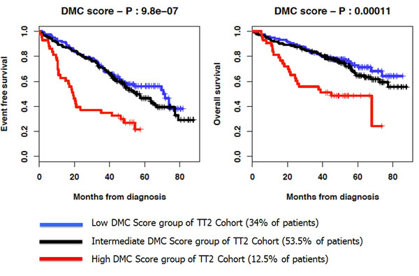 Kaplan-Meier curves of the EFS and OS of the 3 DMC score groups of patients of the UAMS-TT2 cohort.