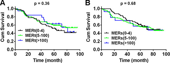 Mer expression is not correlated with overall survival of patients with NSCLC.