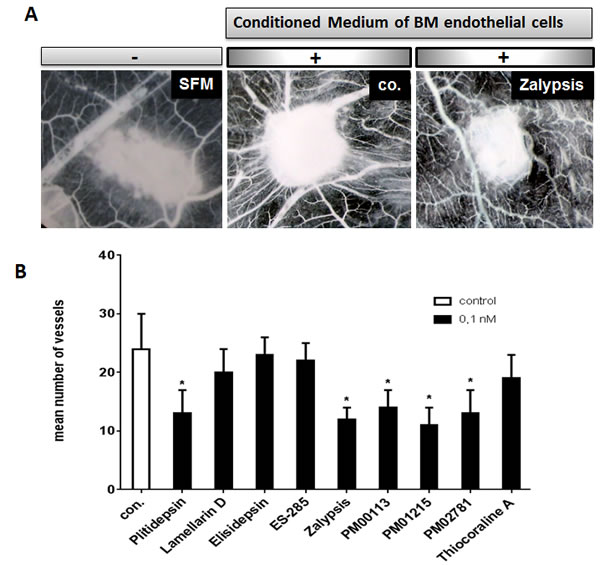Anti-angiogenic activities of marine-derived compounds in the gelatin sponge assay.