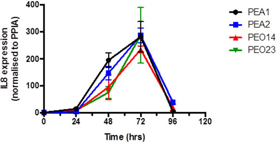 Expression of IL-8 on platinum treatment in isogenic pairs of platinum sensitive and platinum resistant cell lines.