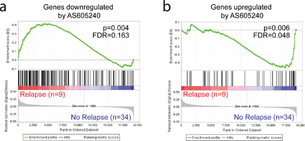 Genes responsive to PI3K inhibition show differential expression in T-ALL samples of patients who underwent relapse.