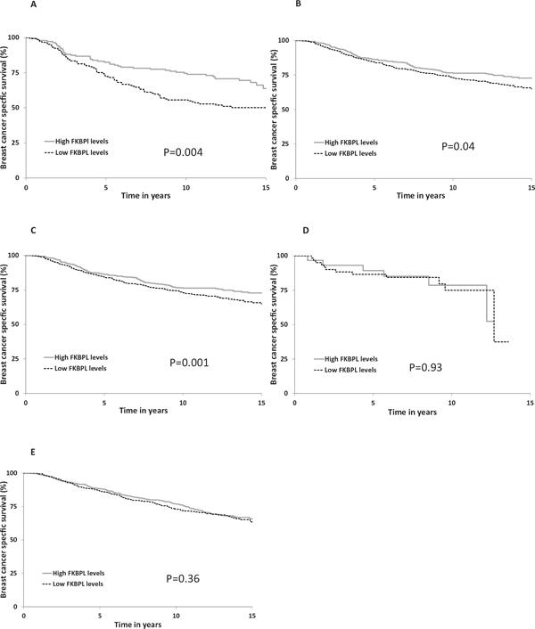 FKBPL expression Kaplan-Meier estimates of breast cancer specific survival for FKBPL in (A) cohort I (n = 290) (B) cohort II (n = 1214) (C) cohort III (n = 492) (D) cohort IV (n = 104) and (E) cohort V (n = 1169).