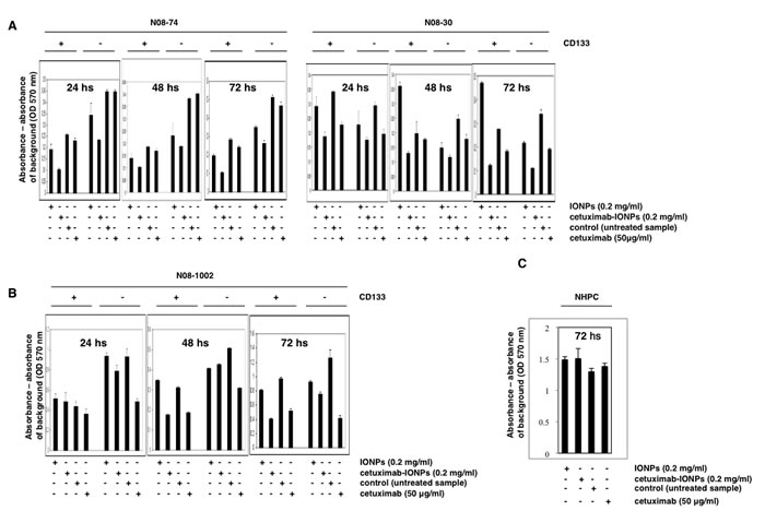 Cytotoxicity of cetuximab-IONPs in human GSCs and GBM CD133-negative cells quantified by MTT assay.