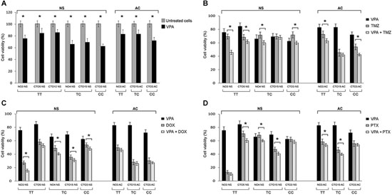 Effect of the SEL1L SNP rs12435998 on the response to drug treatments in GBM cell lines.