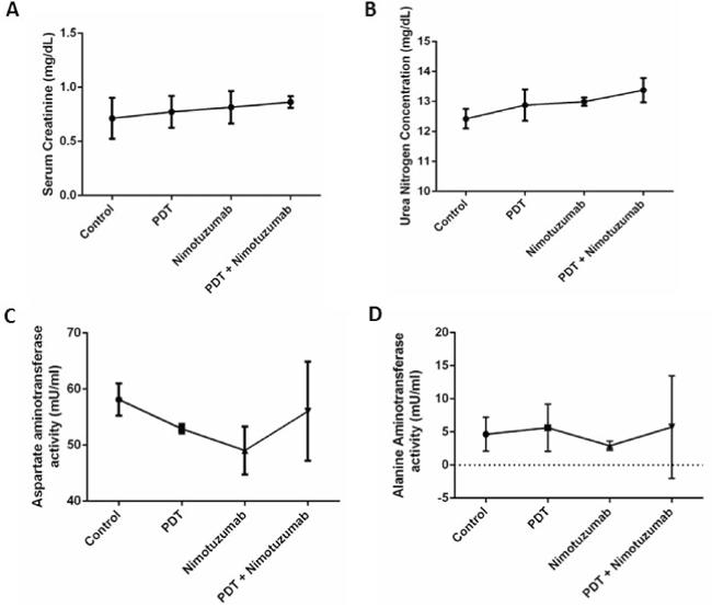Toxicity studies were performed by measuring serum creatinine. A. urea nitrogen B. aspartate aminotransferase C. and alanine aminotransferase levels D.
