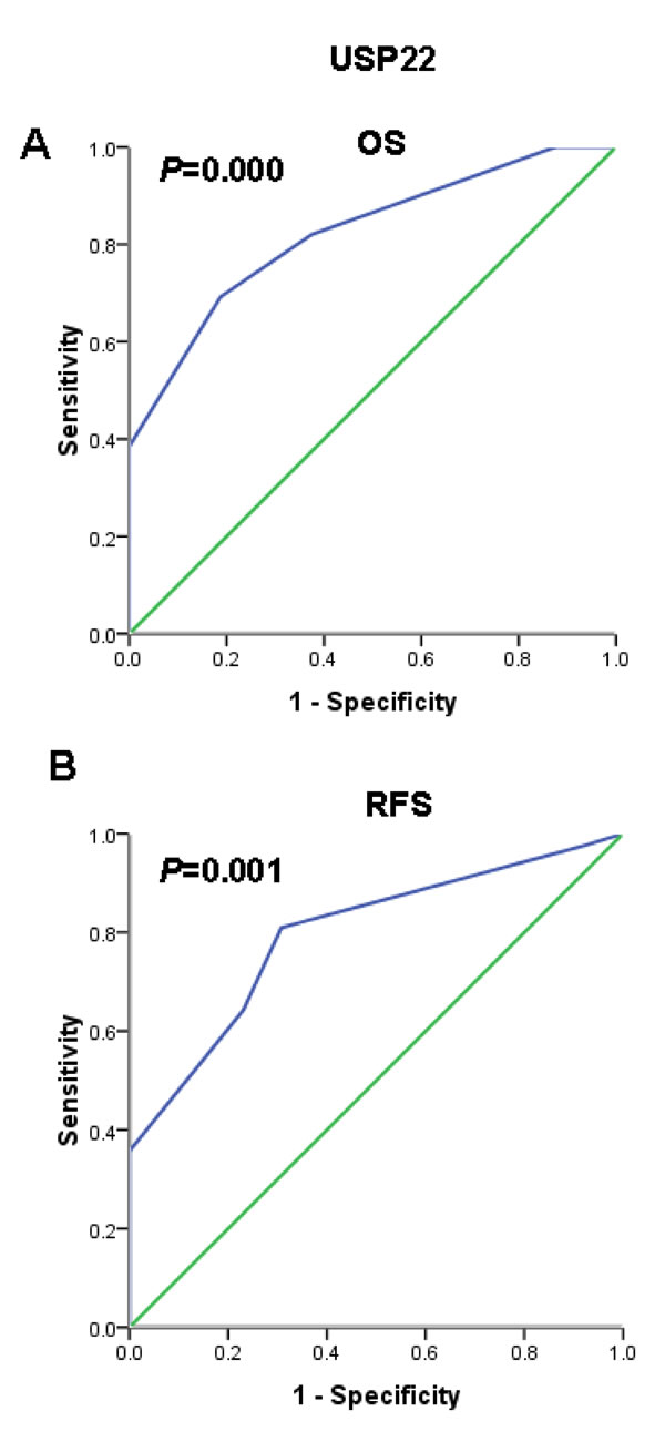 Receiver operating characteristic (ROC) curve analysis used to select a USP22 cutoff score based on the training set.