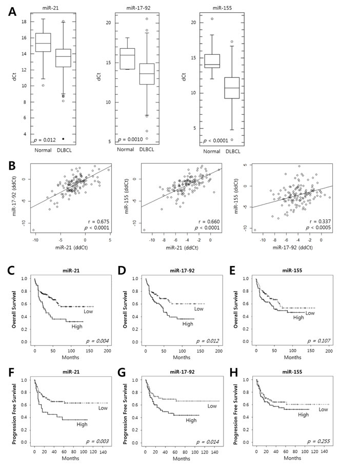 Expression of miR-21, the miR-17-92 cluster and miR-155 in tumor tissues of DLBCL patients and their prognostic implications.