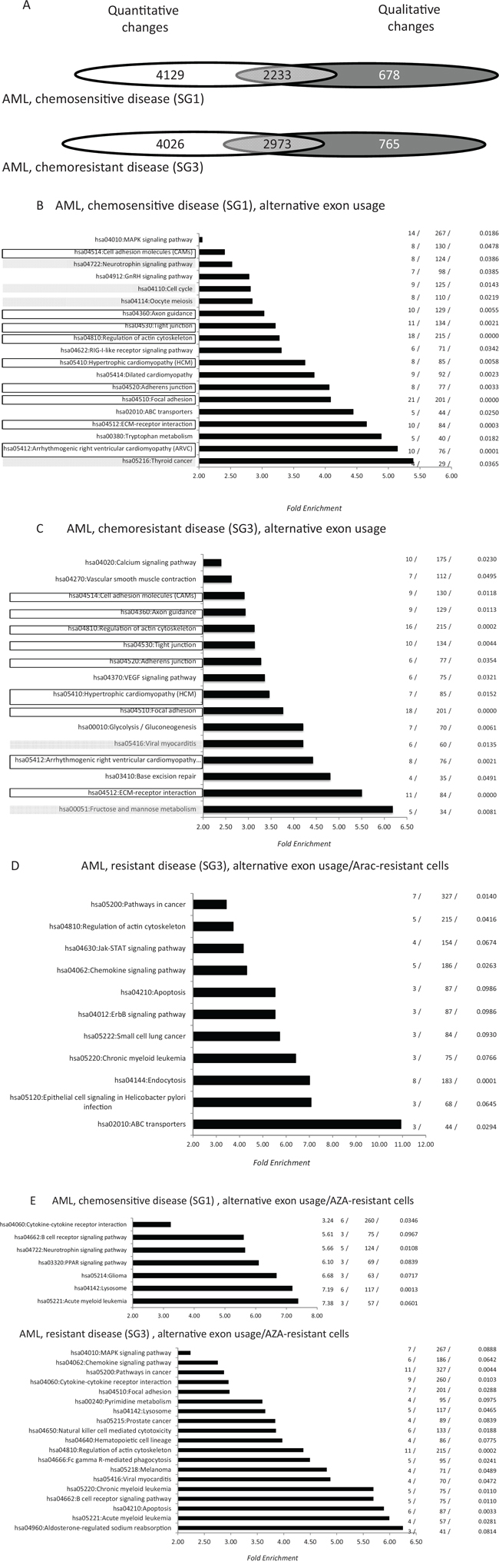 Distribution of alternative exon usages in fresh AML samples derived from patients with chemosensitive (SG1) and chemoresistant (SG3) disease.