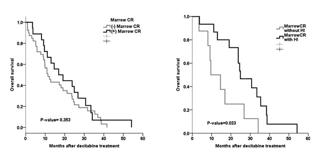 m-CR and OS in patients with BM blasts >5%.