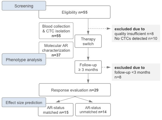 Study flow chart depicting the timeline of therapy switch, blood draw, circulating tumor cell (CTC) analysis and evaluation of response rates.