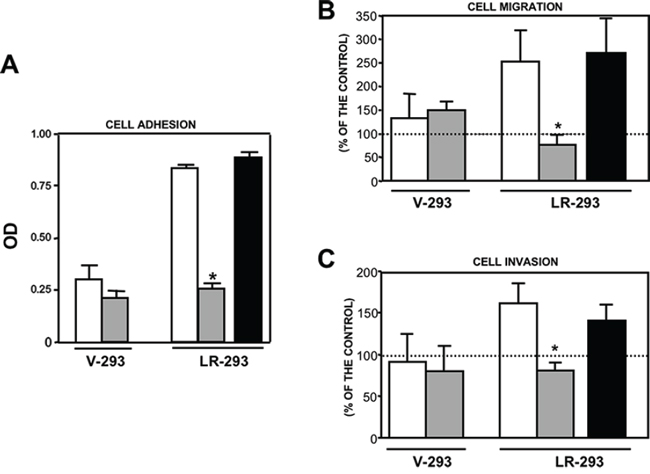 NSC47924 specifically inhibits 67LR-mediated cell adhesion and migration to LM as well as ECM invasion.