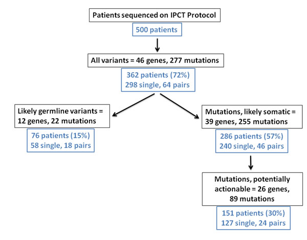 Flowchart of first 500 patients sequenced on a genomic profiling protocol in the Department of Investigational Cancer Therapeutics.