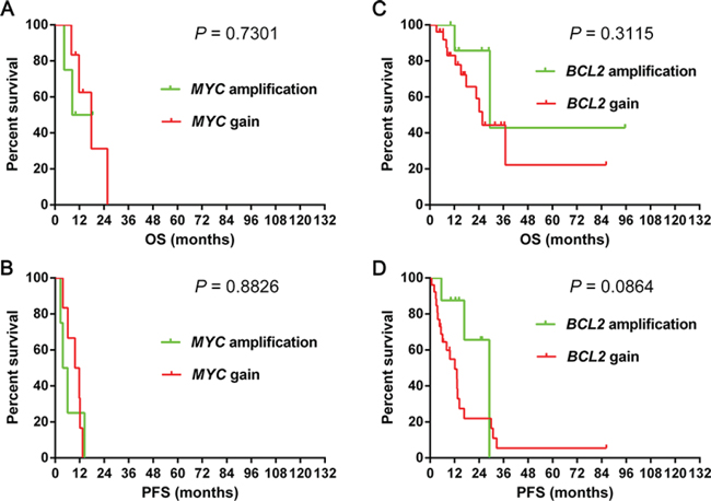 Overall survival and progression-free survival of cases grouped according to gain and amplification with MYC 1A–1B and BCL2 1C–1D in the R-CHOP-like group.