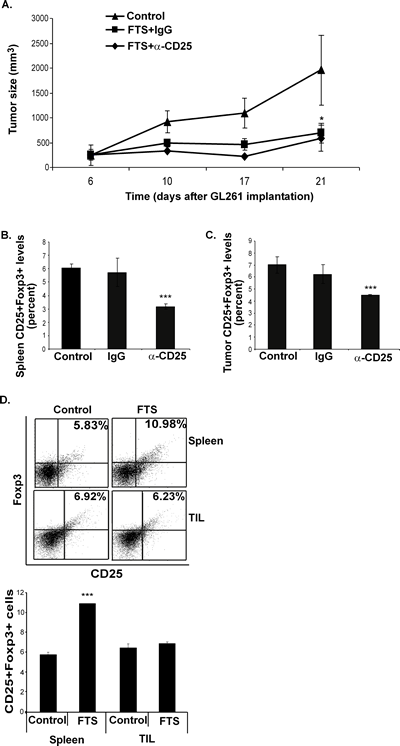 Inhibition of GL261 tumor growth by FTS is not affected by FTS-induced Foxp3 Tregs.