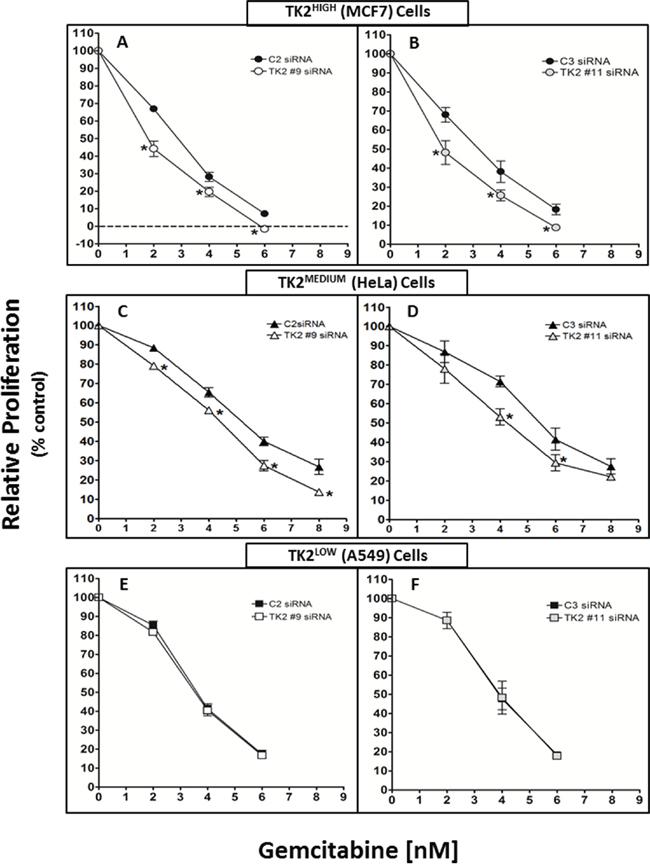 siRNAs targeting TK2 sensitize TK2-expressing human tumor cell lines to gemcitabine.