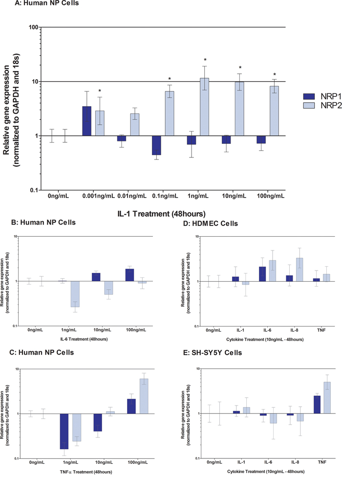 Cytokine regulation of Neuropilin-1 and Neuropilin-2 in human NP cells treated with IL-1 A. IL-6 B. TNFα C. and HDMECs D. and SH-SY5Y E.