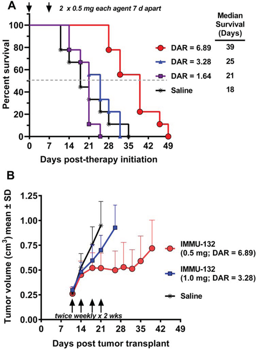 Therapeutic efficacy of IMMU-132 with different DARs.