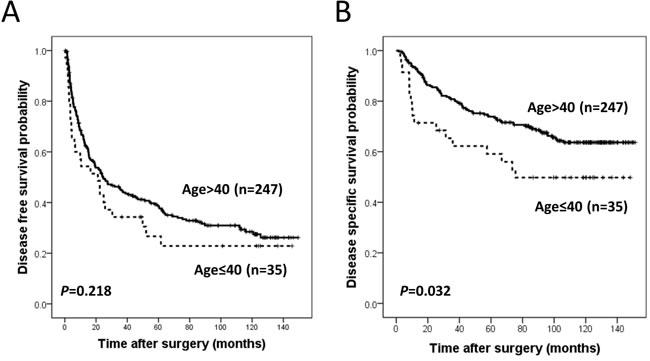 Kaplan Meier survival curves for disease free survival.