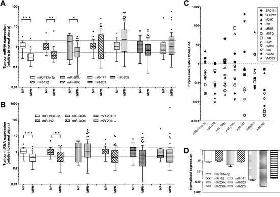 Expression of diagnostic microRNAs is reduced in MPM tumors and cell lines.