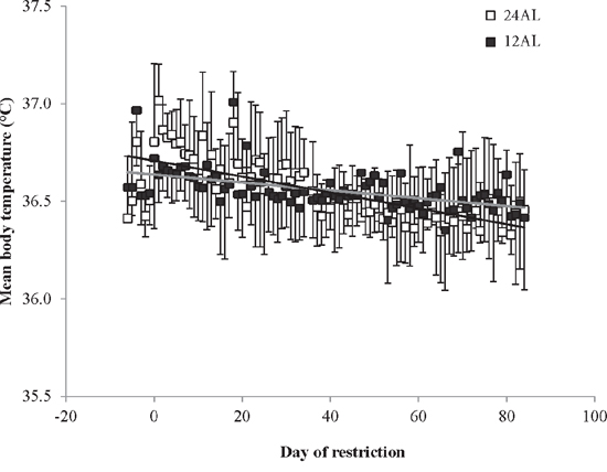 Mean daily body temperatures of the two ad libitum (AL) fed groups throughout the experiment.